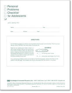 Par Personal Problems Checklist For Adolescents